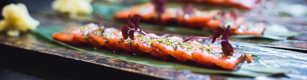 Taiko Restaurant - Sashimi van watermeloen gemarineerd in shiso