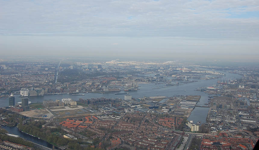 Helicopter view Amsterdam