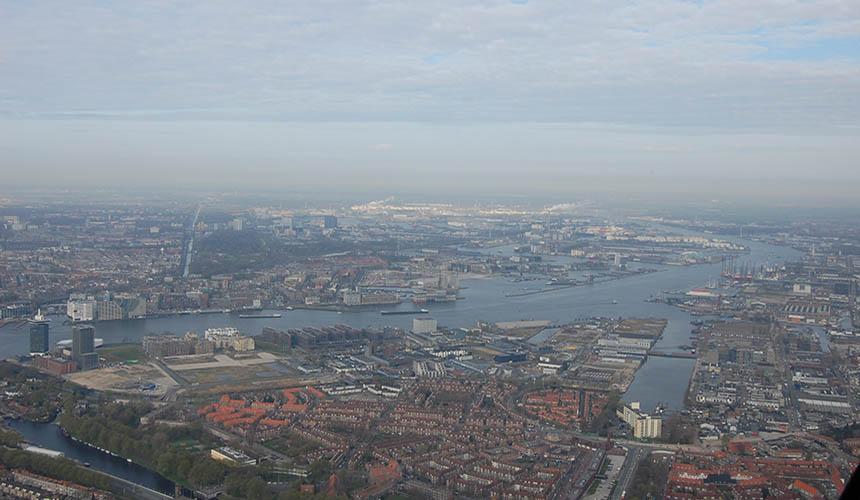 Helikopter uitzicht Amsterdam